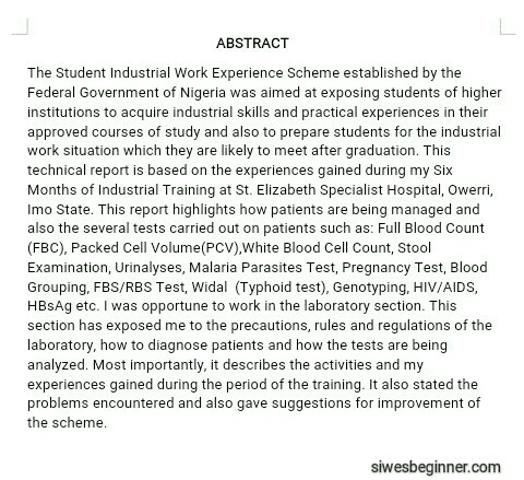 Abstract Of A SIWES Report