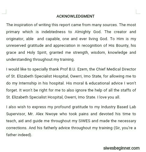 SIWES Report Acknowledgement Page