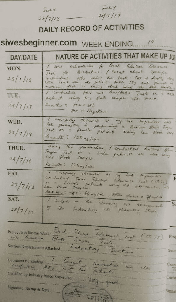 SIWES Logbook Activities Record Page