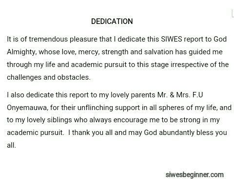 Dedication Page Of A SIWES Report