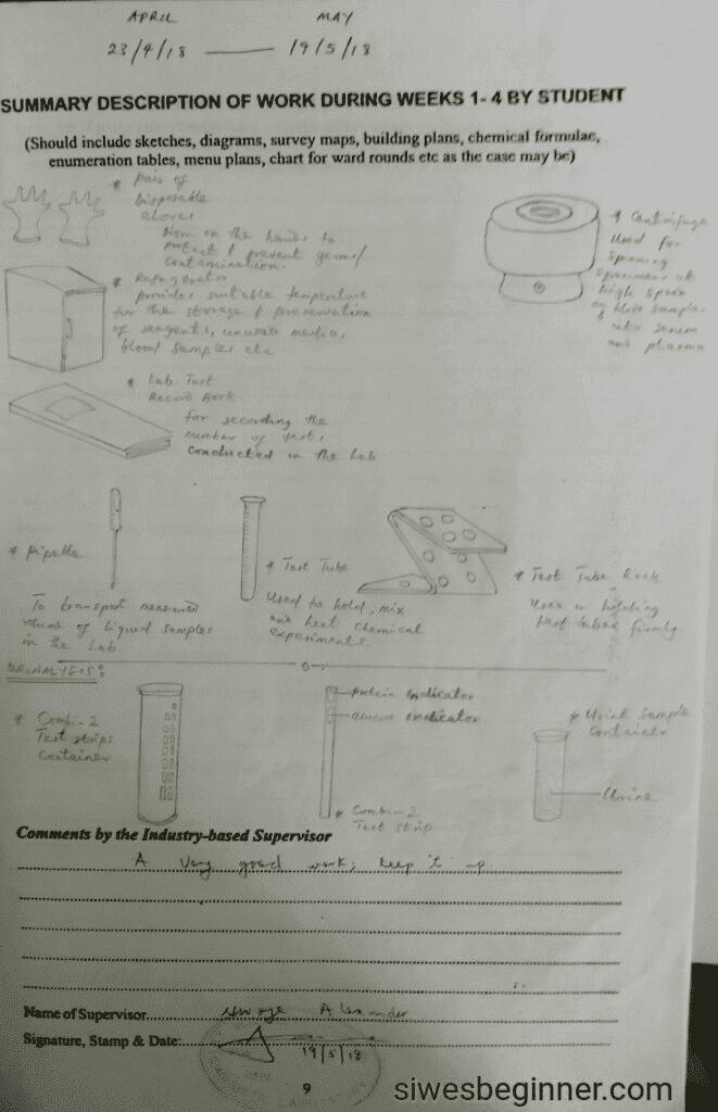SIWES Logbook Diagram Page