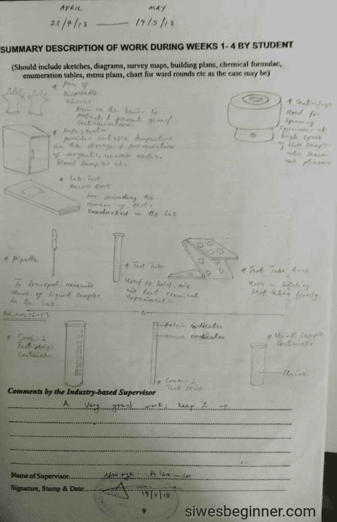 SIWES Logbook Diagram Page