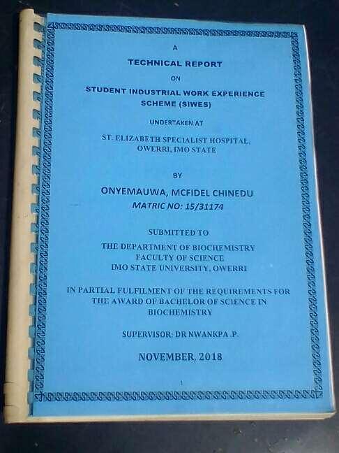 Industrial Training, Internship or SIWES Report
