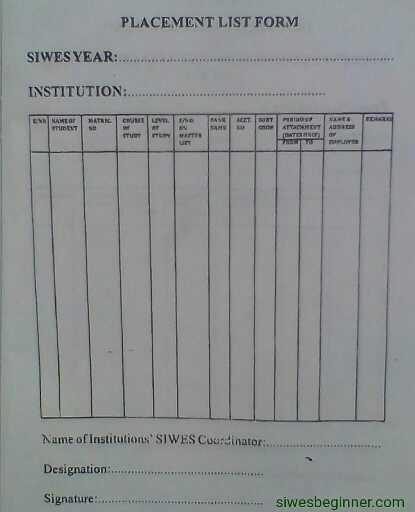 SIWES Placement List Form