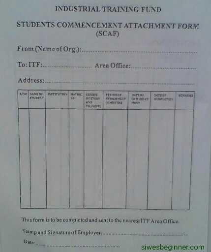 SIWES Form (SCAF)