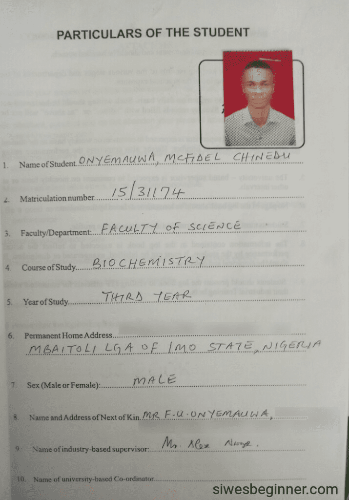 SIWES Logbook (Student Particulars Page)