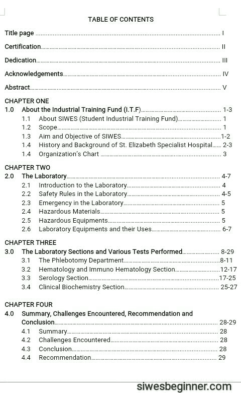 Table of Contents of a SIWES Report